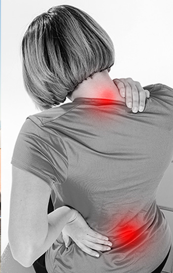Lady with pain points in shoulders and back
